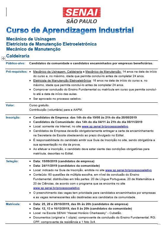 Divulgação Cursos de Aprendizagem Industrial 2020 (1)